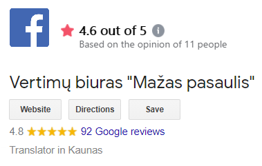 MP Translations Customer Google ratings and FaceBook reviews